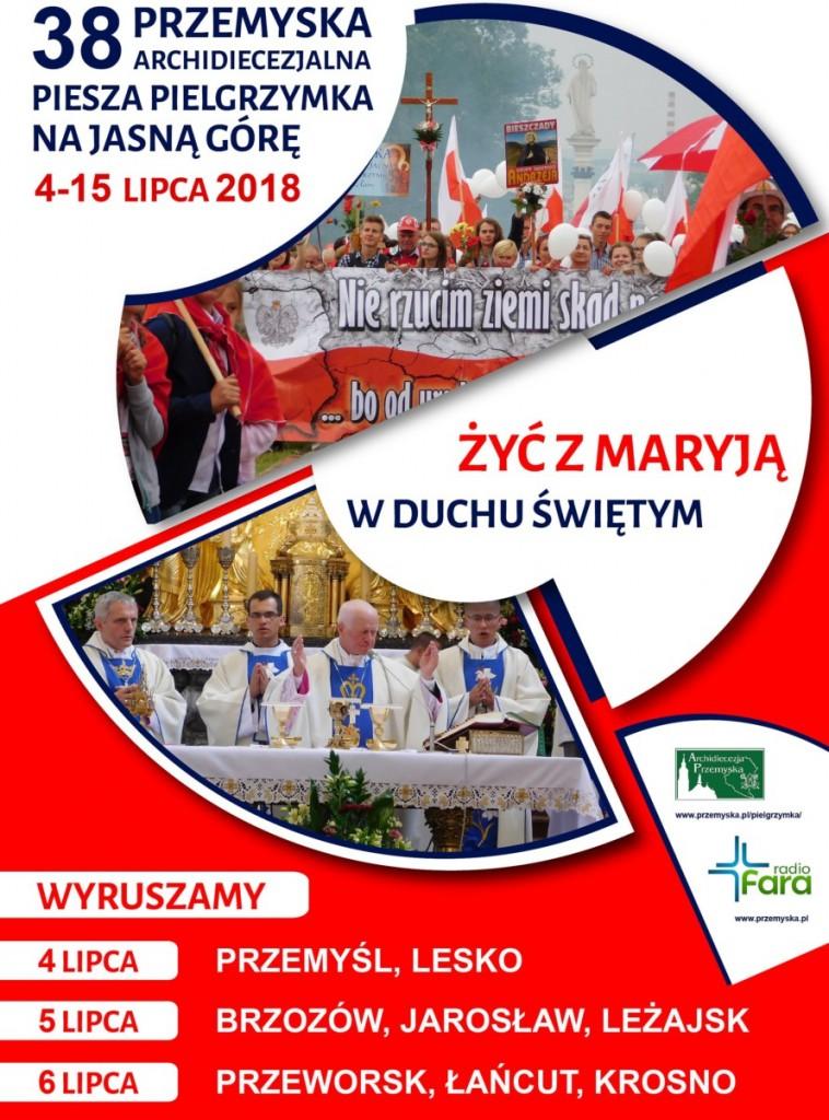 38_PrzemyskaArchidiecezjalnaPieszaPielgrzymka-Jasna-Góra2018_plakat-1